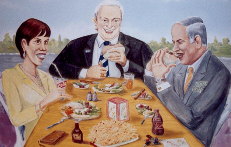 ציורי קיר של שרים שאוכלים פלפל