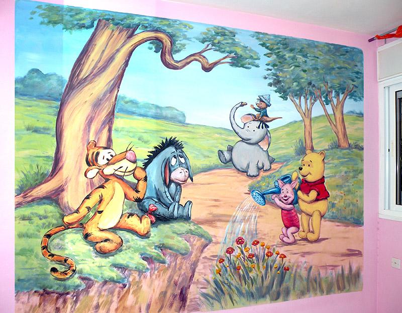 ציורי קיר לחדרי תינוקות – פו הדב ביער