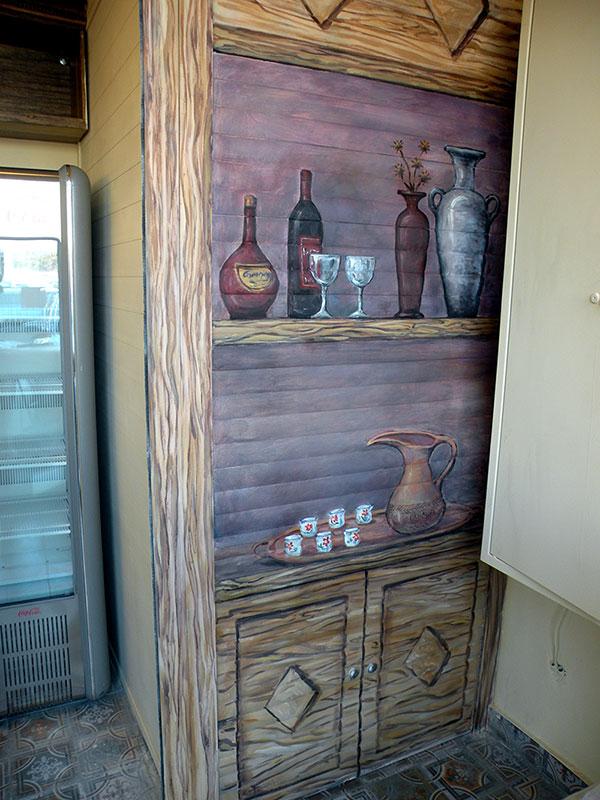 ציור קיר של ארון וכלים