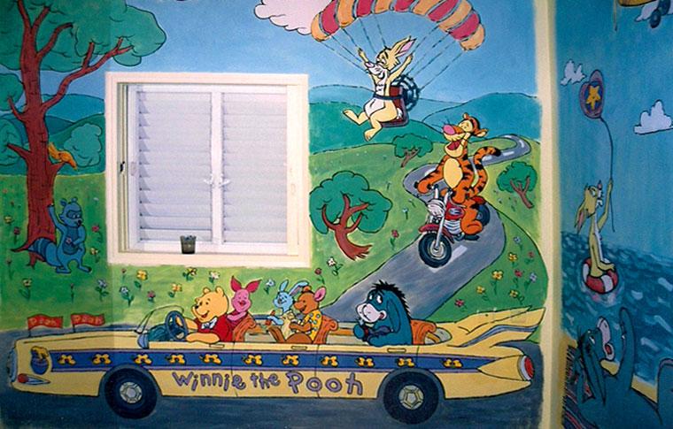 ציורי קיר לילדים פו הדוב וחבריו באוטו