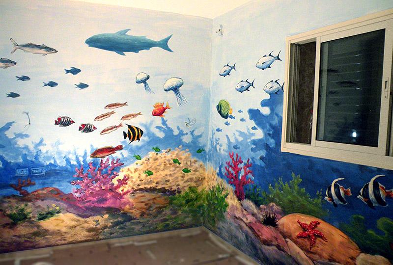 ציור קיר דגים ועולם תת ימי