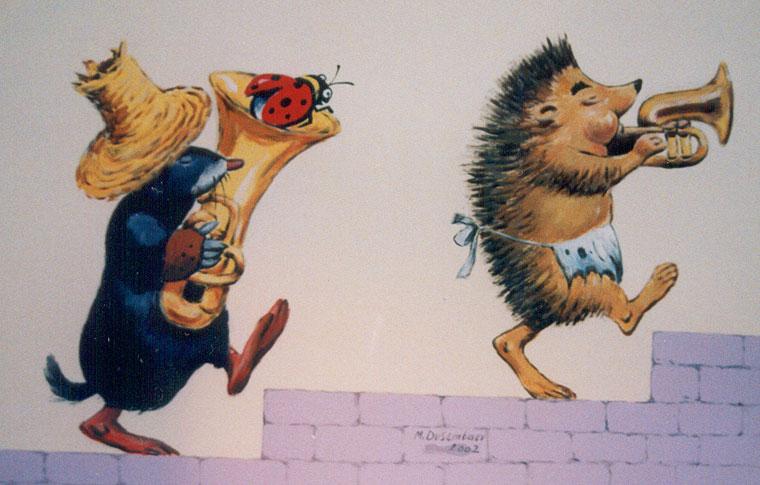 ציורי קיר לילדים מנגנים קיפוד וחפרפרת