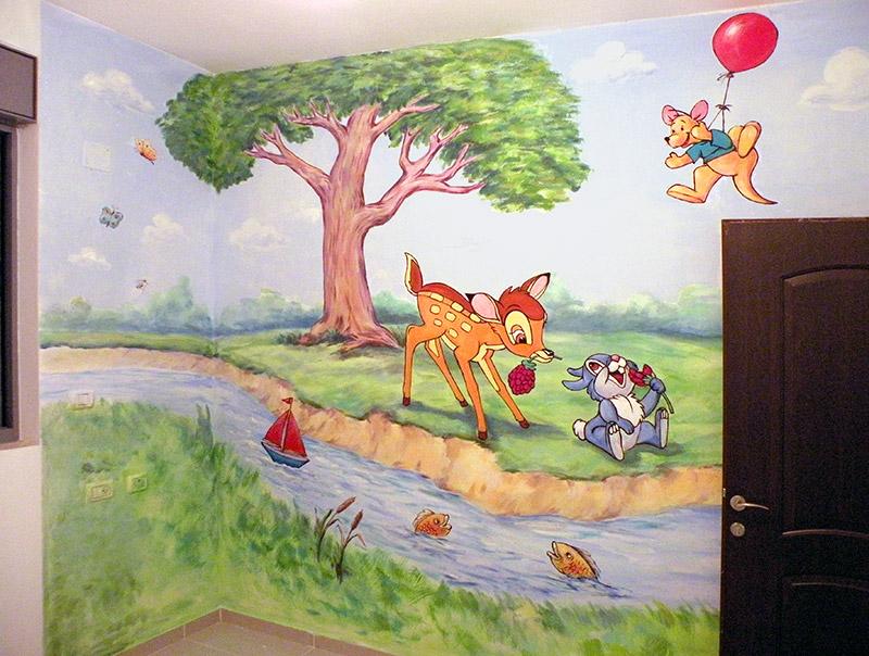 ציור קיר של במבי