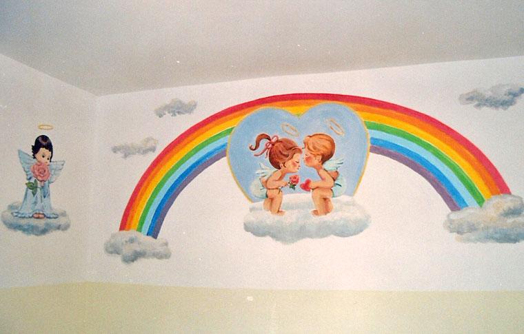 ציורי קיר של קשת, שני ילדים ומלאך