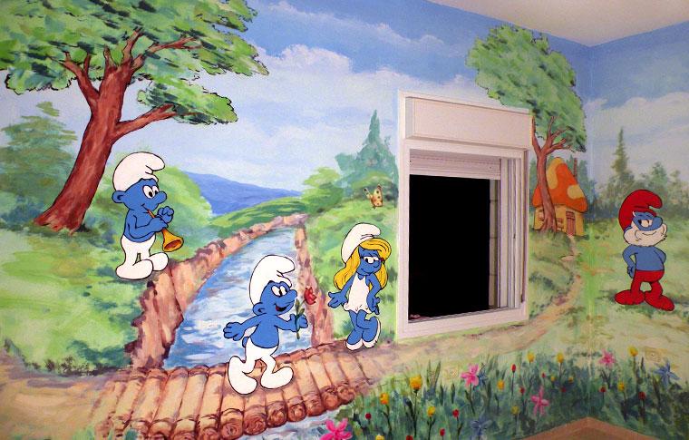 ציורי קיר דרדסים על רקע של נוף