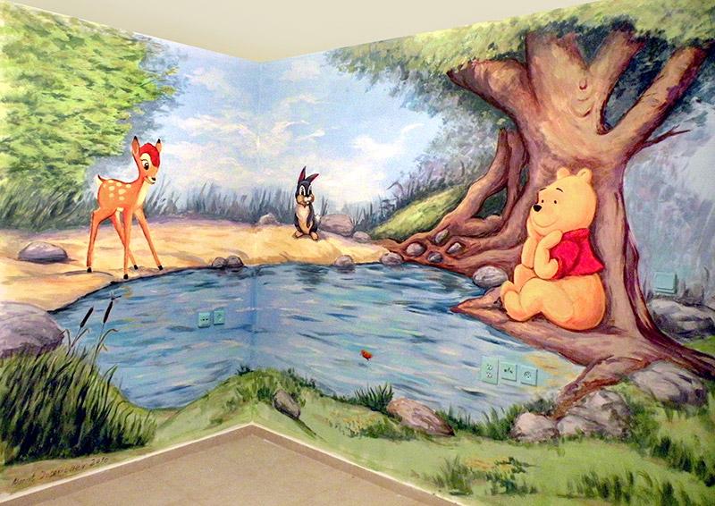 ציורי קיר פו הדוב מתחת לעץ וחבריו