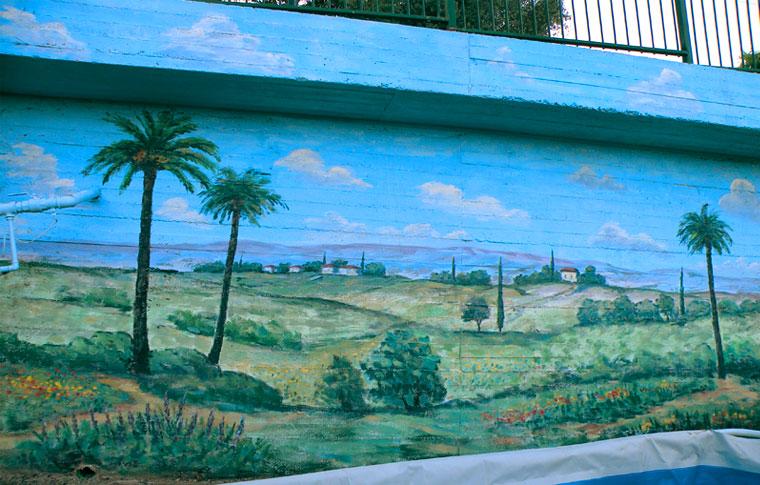 ציורי קיר נוף ליד בריכה