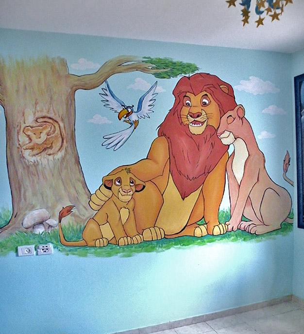 ציור קיר משפחת אריות