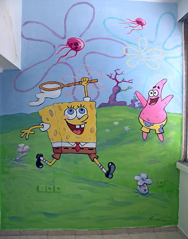 ציורי קיר בוב ספוג וכוכב לילדים