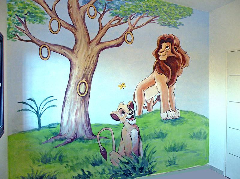 ציורי קיר אבא ובן מהסיפור מלך האריות