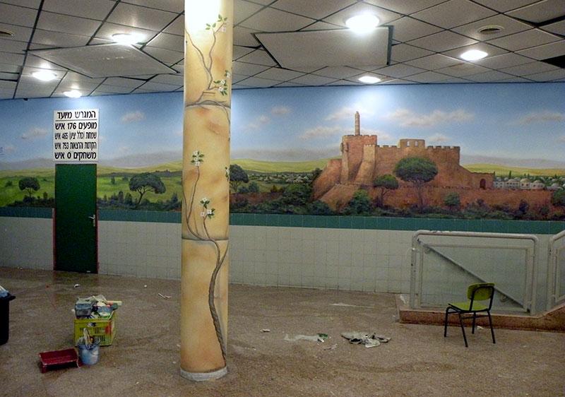 ציורי קיר מגדל דוד לאולם אירועים