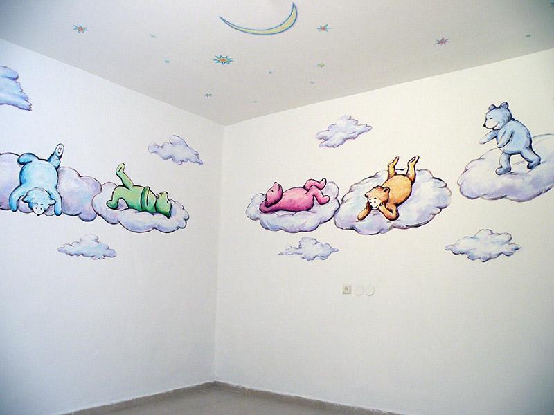 ציורי קיר לילדים דובונים על עננים וכוכבים