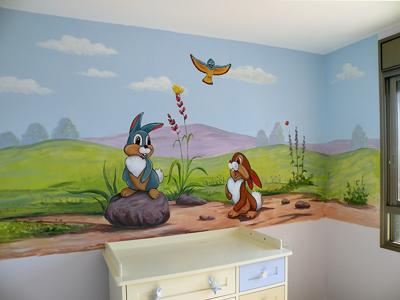 ציור קיר לילדים של ארנבים