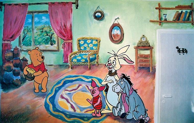 ציורי קיר פו הדב עם דבש וחבריו