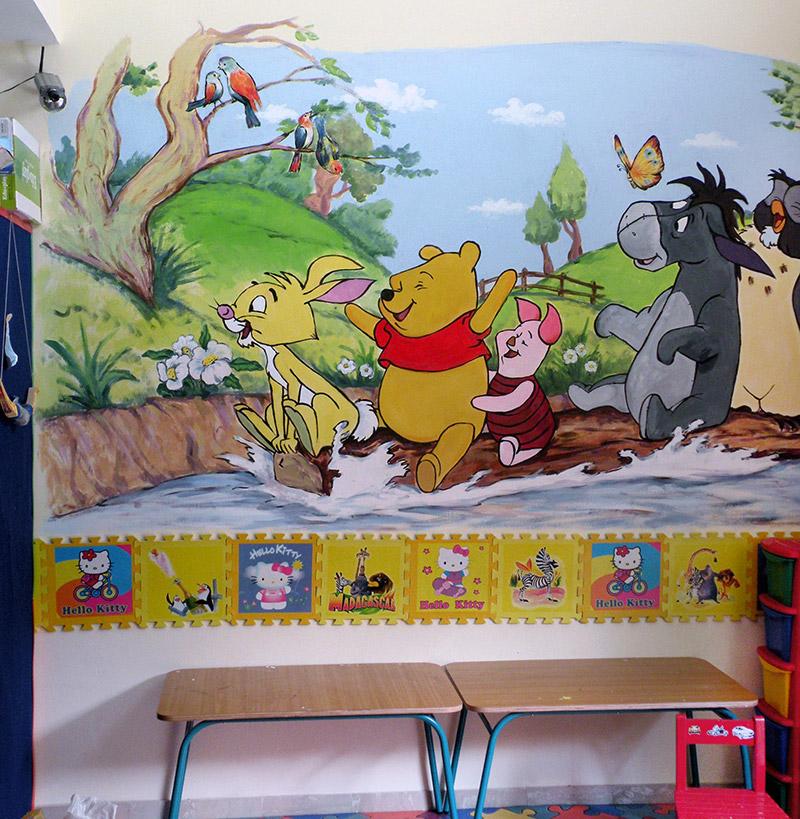 ציורי קיר פן הדוב וחבריו בנהר לילדים