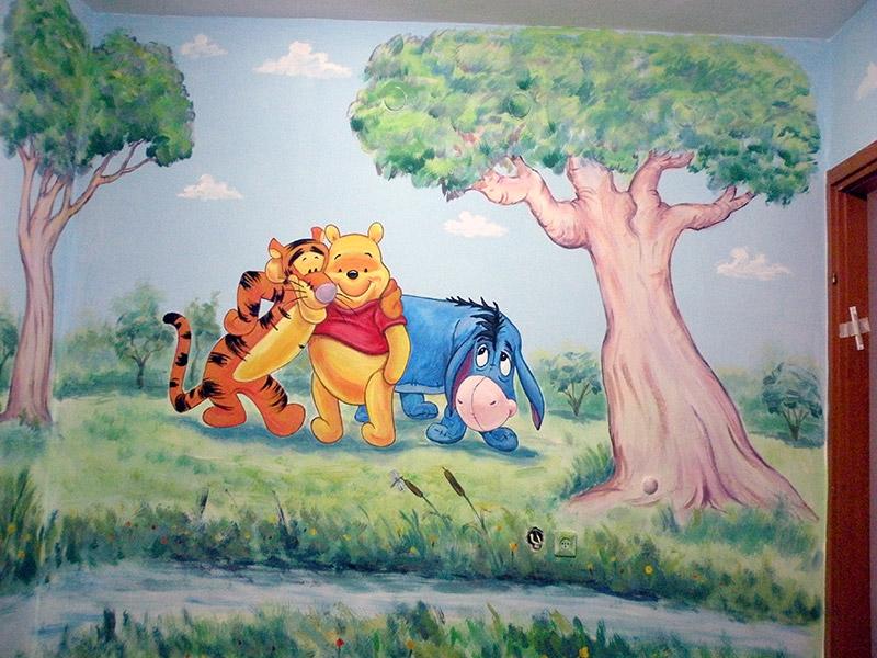ציורי קיר פו הדוב מתחבק עם חבריו