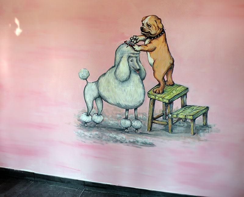 ציורי קיר למספרת כלבים
