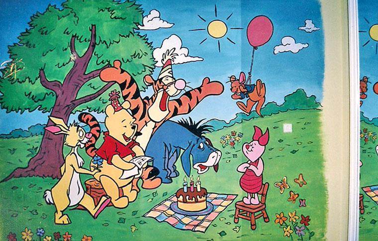 ציורי קיר פו הדוב ביום הולדתו