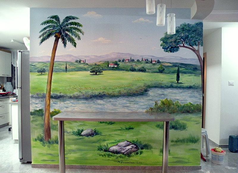 ציור קיר נוף עם נהר לסלון