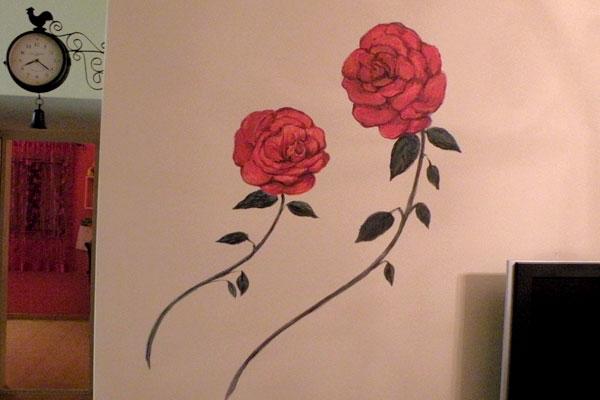 ציורי קיר שני שושנים אדומים