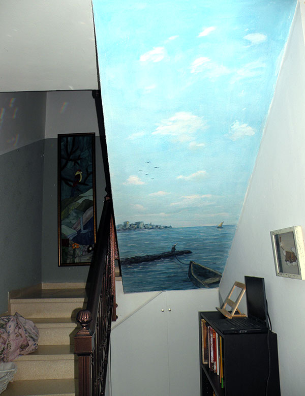 ציור קיר נוף לחדר מדרגות