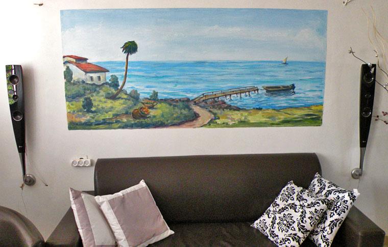 ציורי קיר נוף עם ים, פיר, סירה ובית