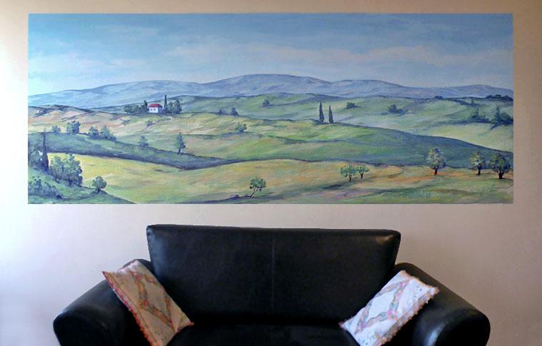 ציורי קיר נוף גלילי מעל ספה
