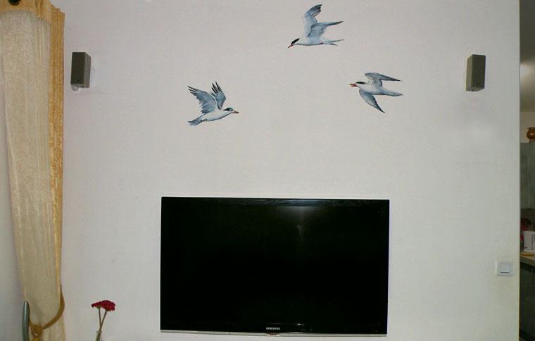 ציורי קיר ציפורים לעיצוב סלון