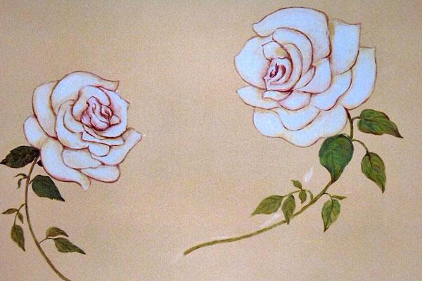 ציורי קיר שושנים לבנים לסלון