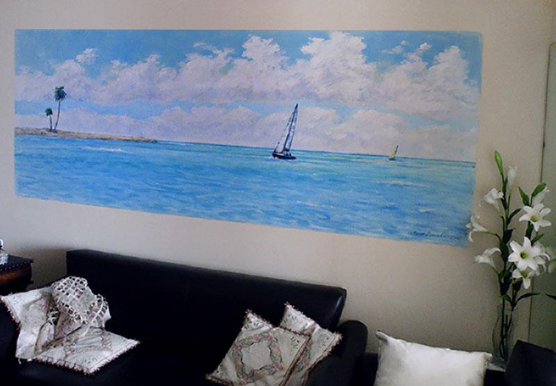 ציור קיר נוף עם סירות לסלון