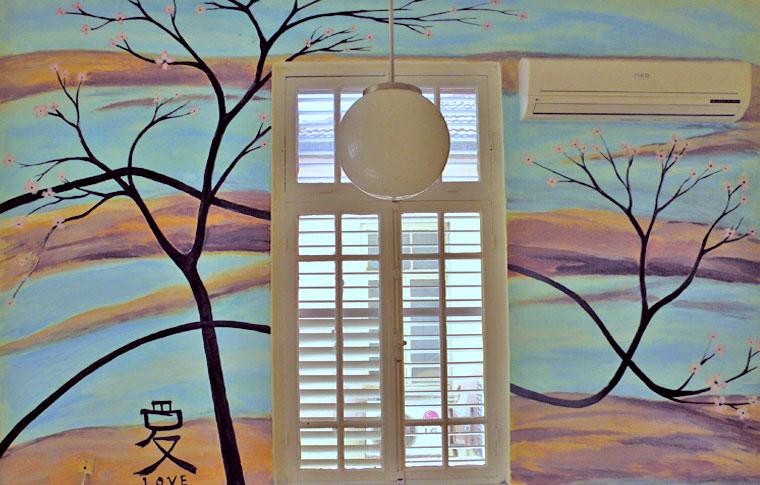 ציורי קיר בחדר שינה בסגנון יפני