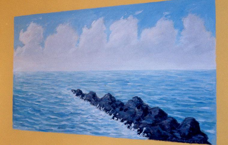 ציור קיר נוף ימי עם סלעים