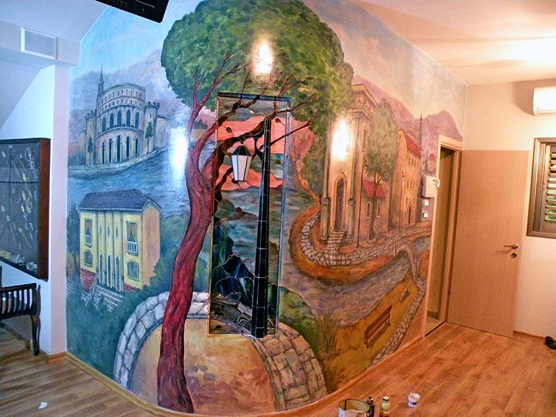 בתים מאיטליה, גרמניה, וספרד ציורי קיר בסלון
