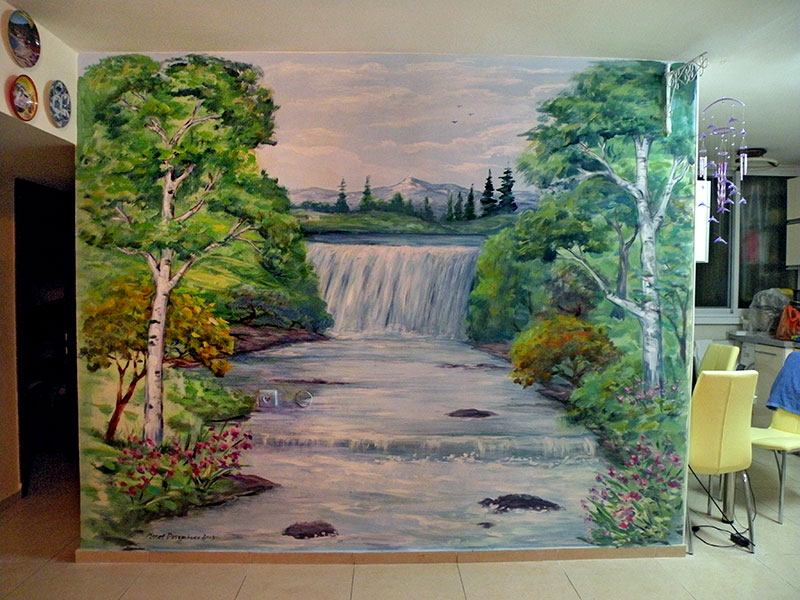 ציור קיר מפל לסלון