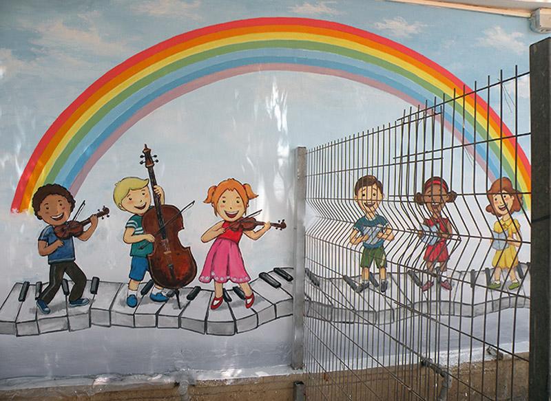 ציורי קיר ילדים מנגנים לגן ילדים