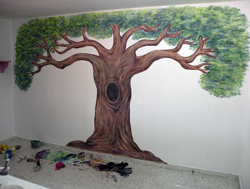 ציורי קיר עץ עם חלול לגן ילדים