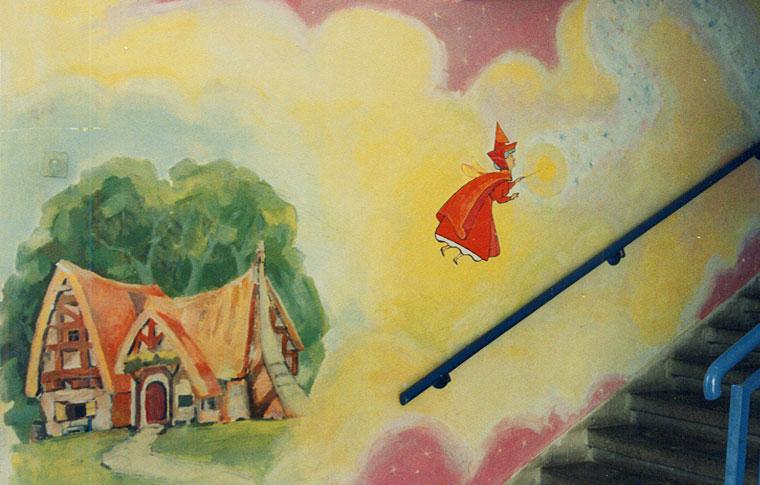 ציורי קיר קוסמת עם שרביט הקסם לגן ילדים