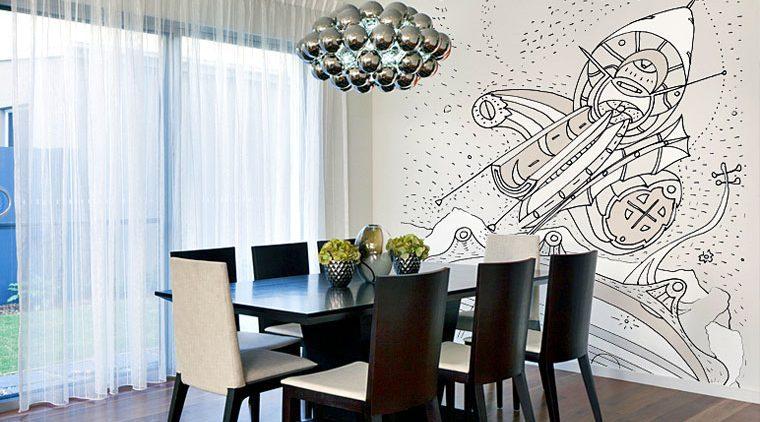 טפטים מיוחדים נוף בחלל בחדר אוכל