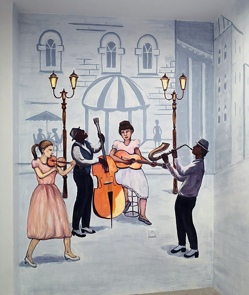 ציור קיר של מוזיקאים רחוב