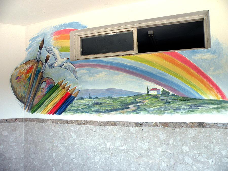 ציורי קיר יונה, נוף וכלי ציור