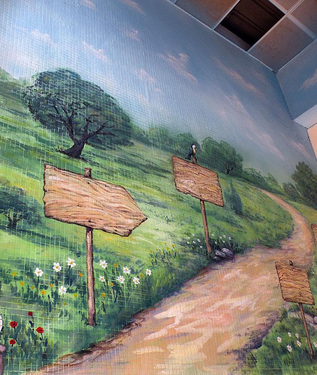 ציור קיר שביל ביער