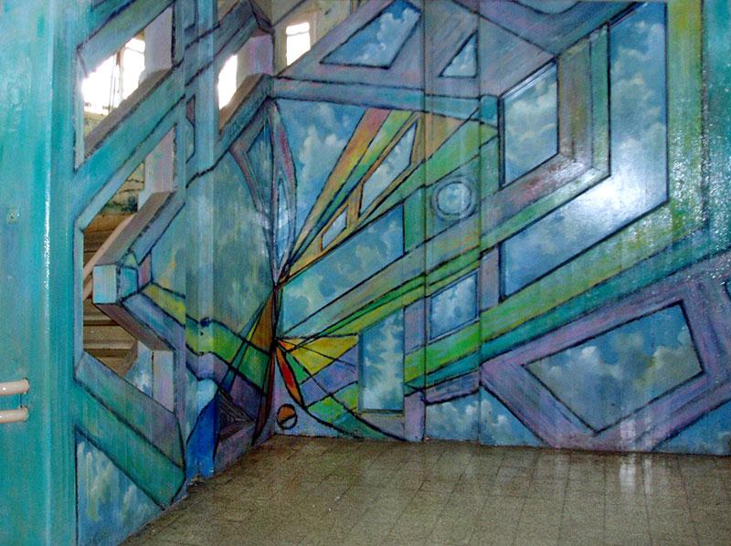 ציור על קיר ענק אבסטרקטי בכניסה לבית ספר