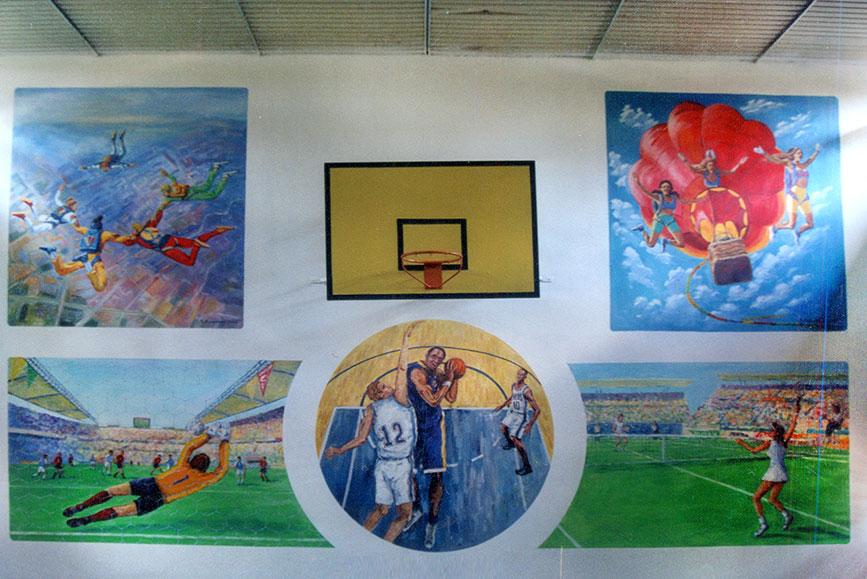 ציורי קיר סוגי ספורט שונים באולם ספורט