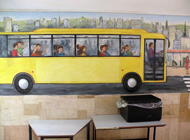 ציורי קיר אוטובוס צהוב לילדים