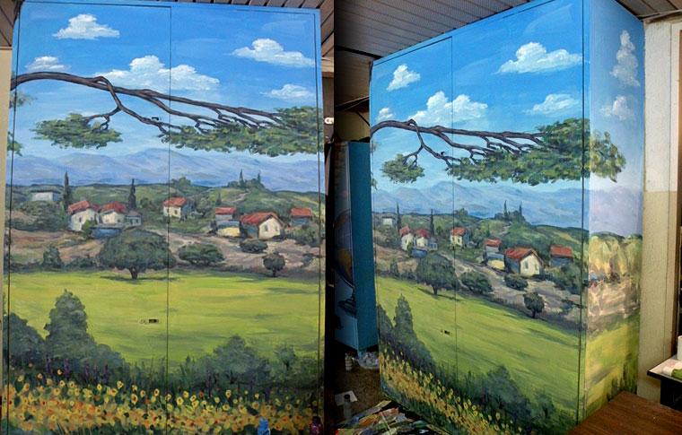 ציורי קיר ענף עץ ונוף על ארונות