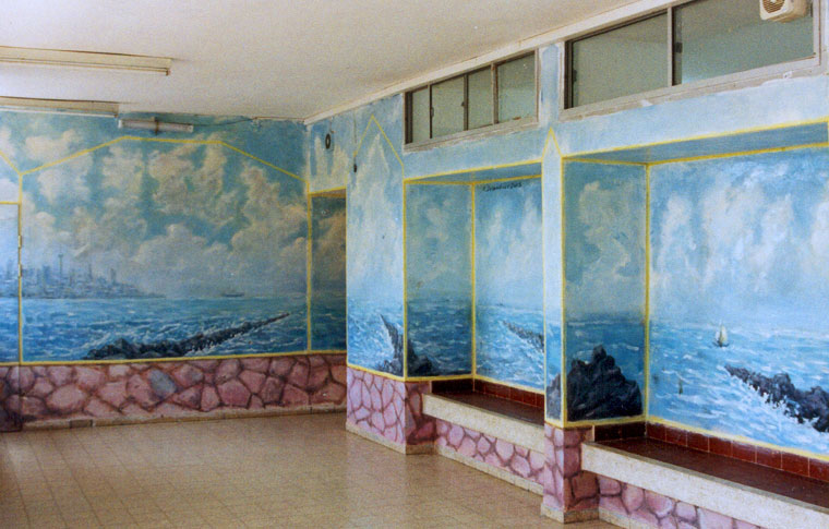 ציורי קיר נוף ימי וסלעים