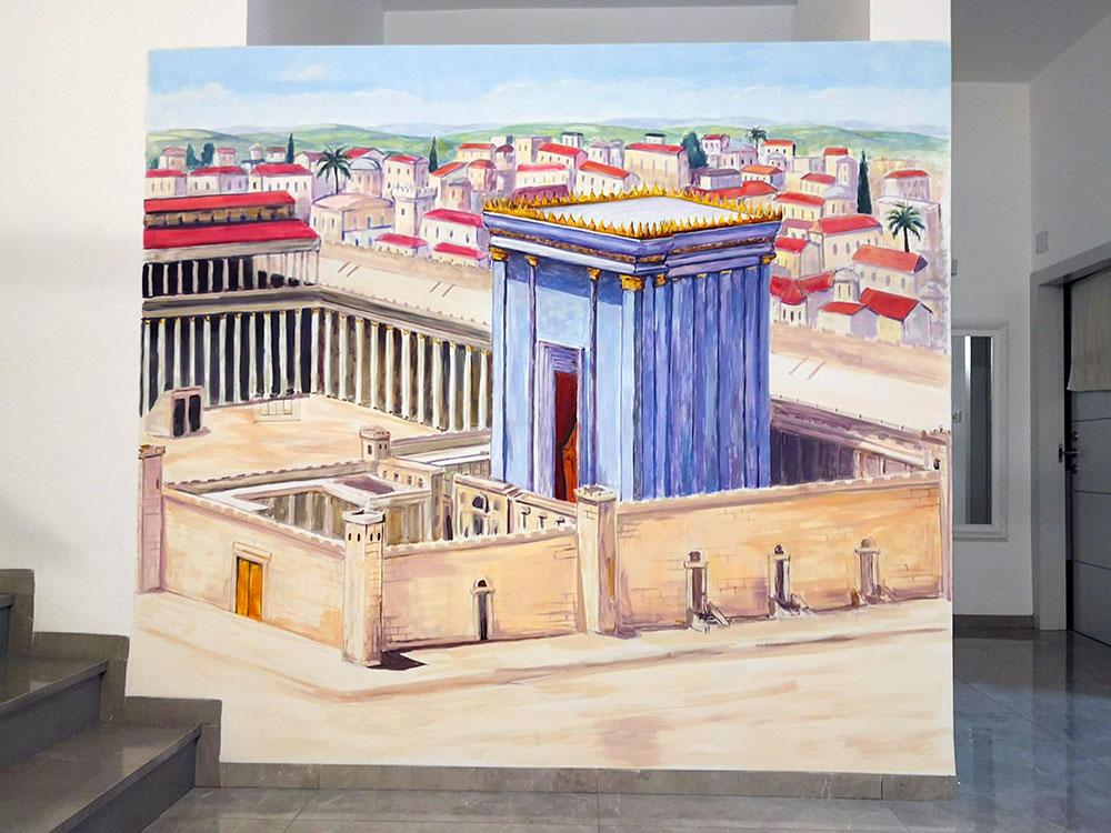 ציור קיר של בית המקדש לעיצוב הבית