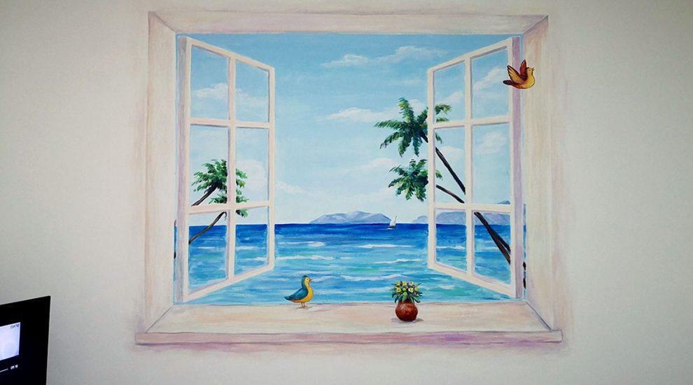 ציור של חלון פתוח בסלון
