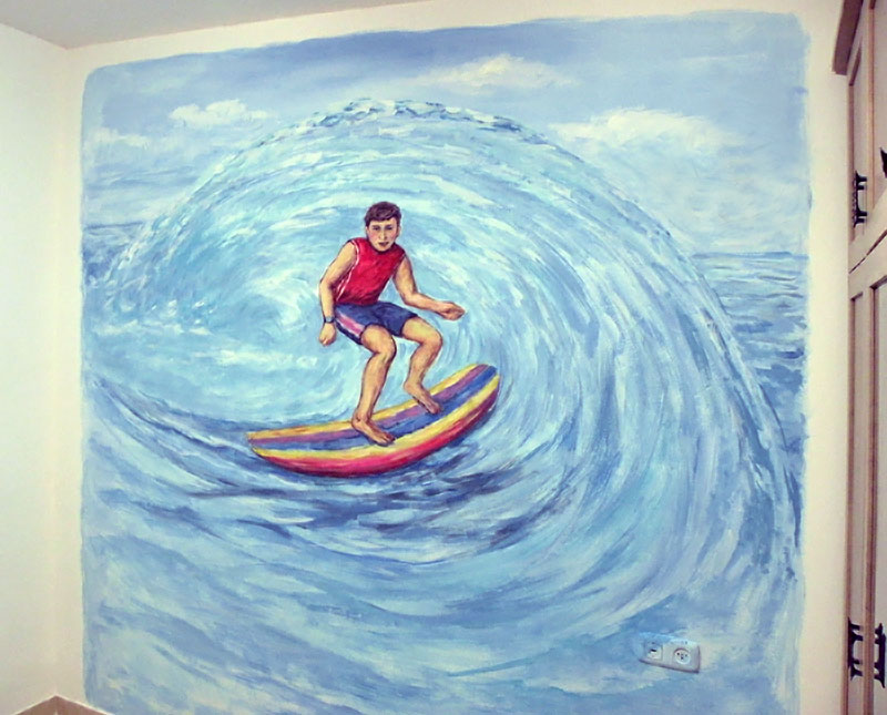 ציור קיר של גלשן
