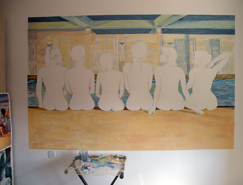 תחילת העבודה על ציור קיר